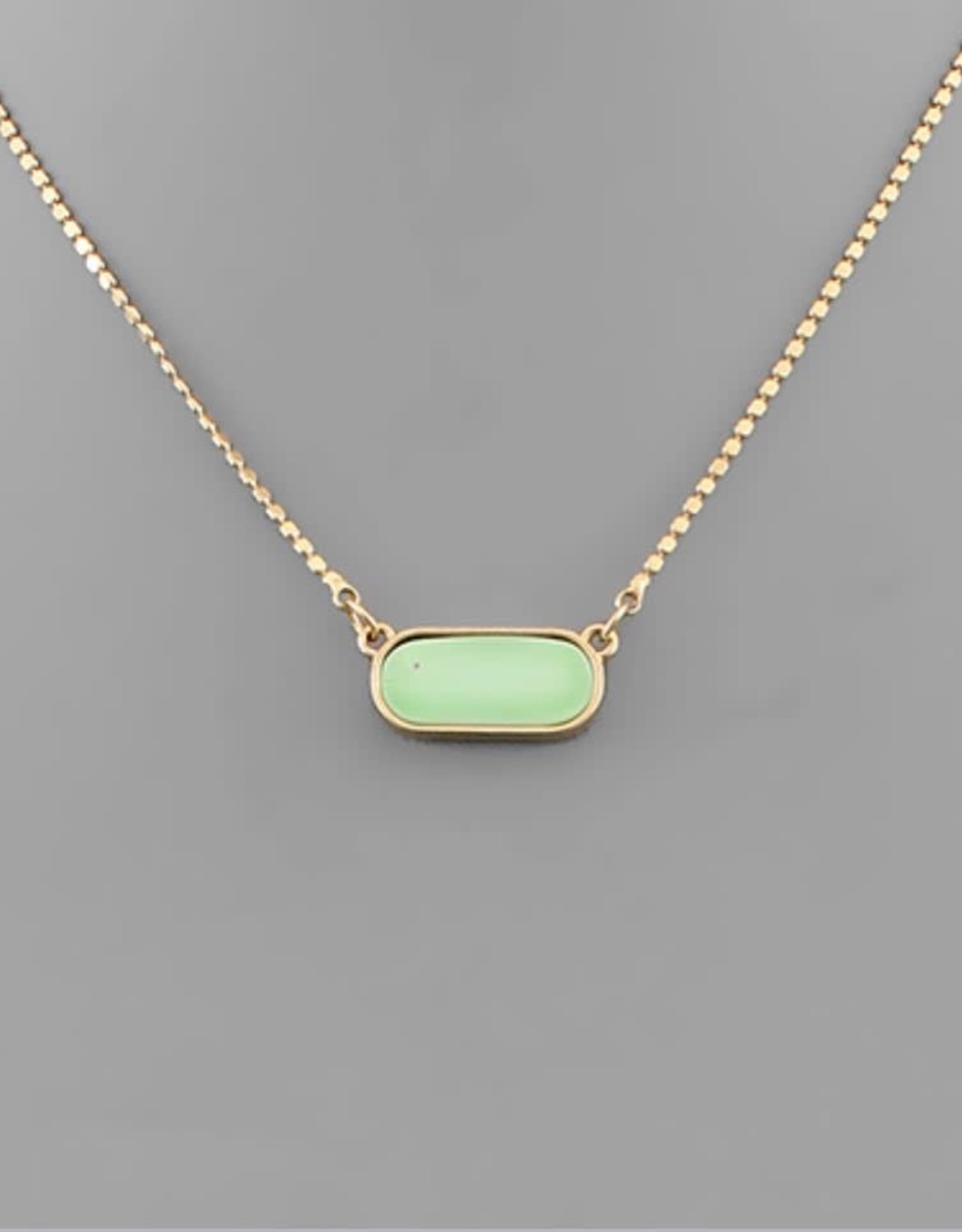 Oval Shell Necklace in Mint