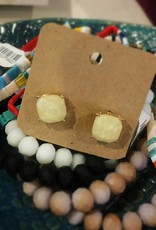 Square Bead Earring in Ivory