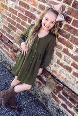 Hayden Button Down Pocket Dress in Olive