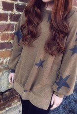 cashmere brushed star print top