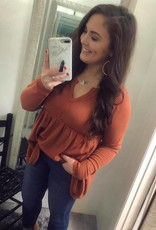 Nora Waffle Knit BabyDoll Top in Rust