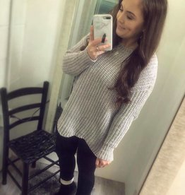 Chenille Sweater in Light Grey