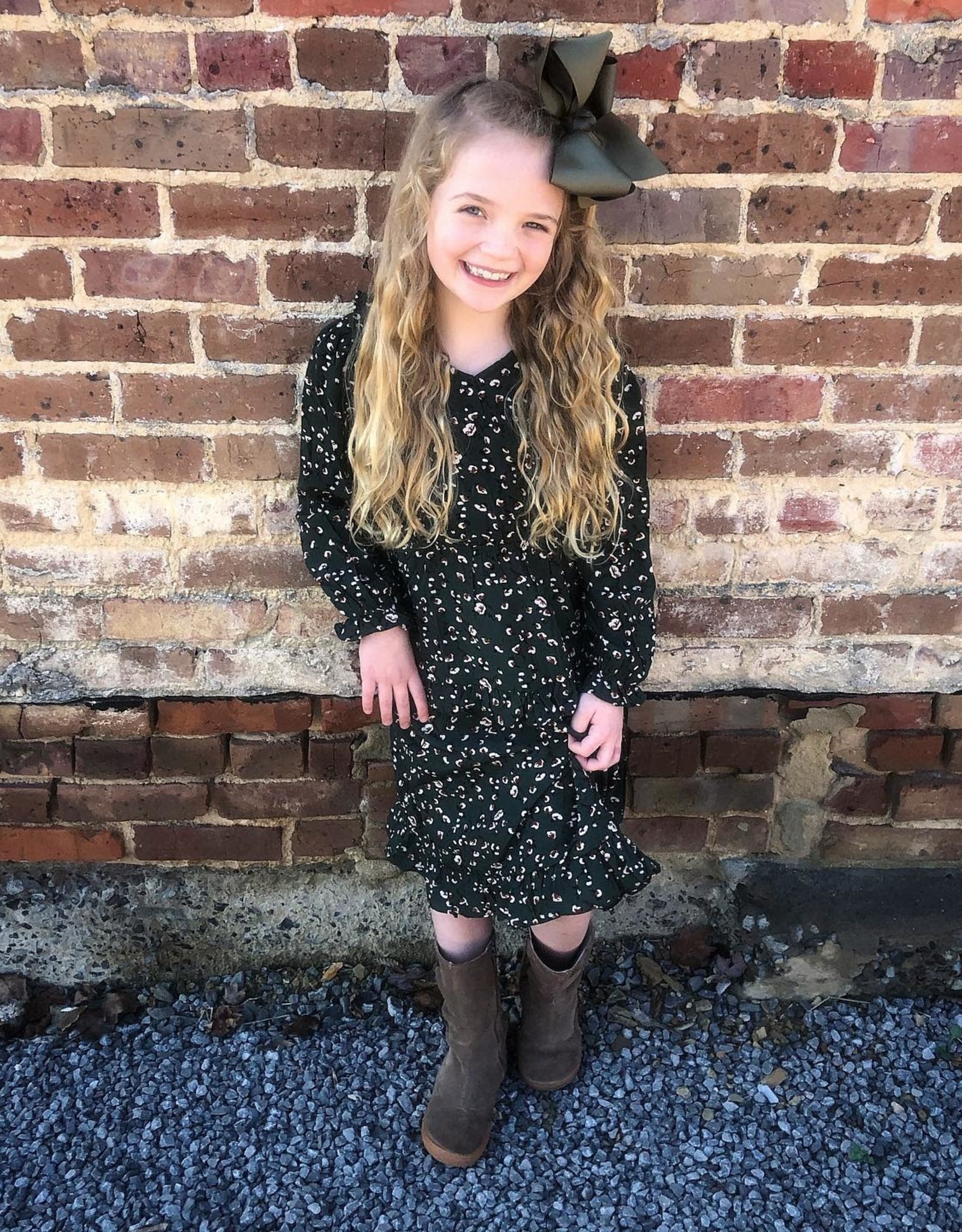 Hayden Allie Green Floral Ruffle Midi Dress