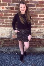 Hayden Stonewash Leopard Mini Skirt