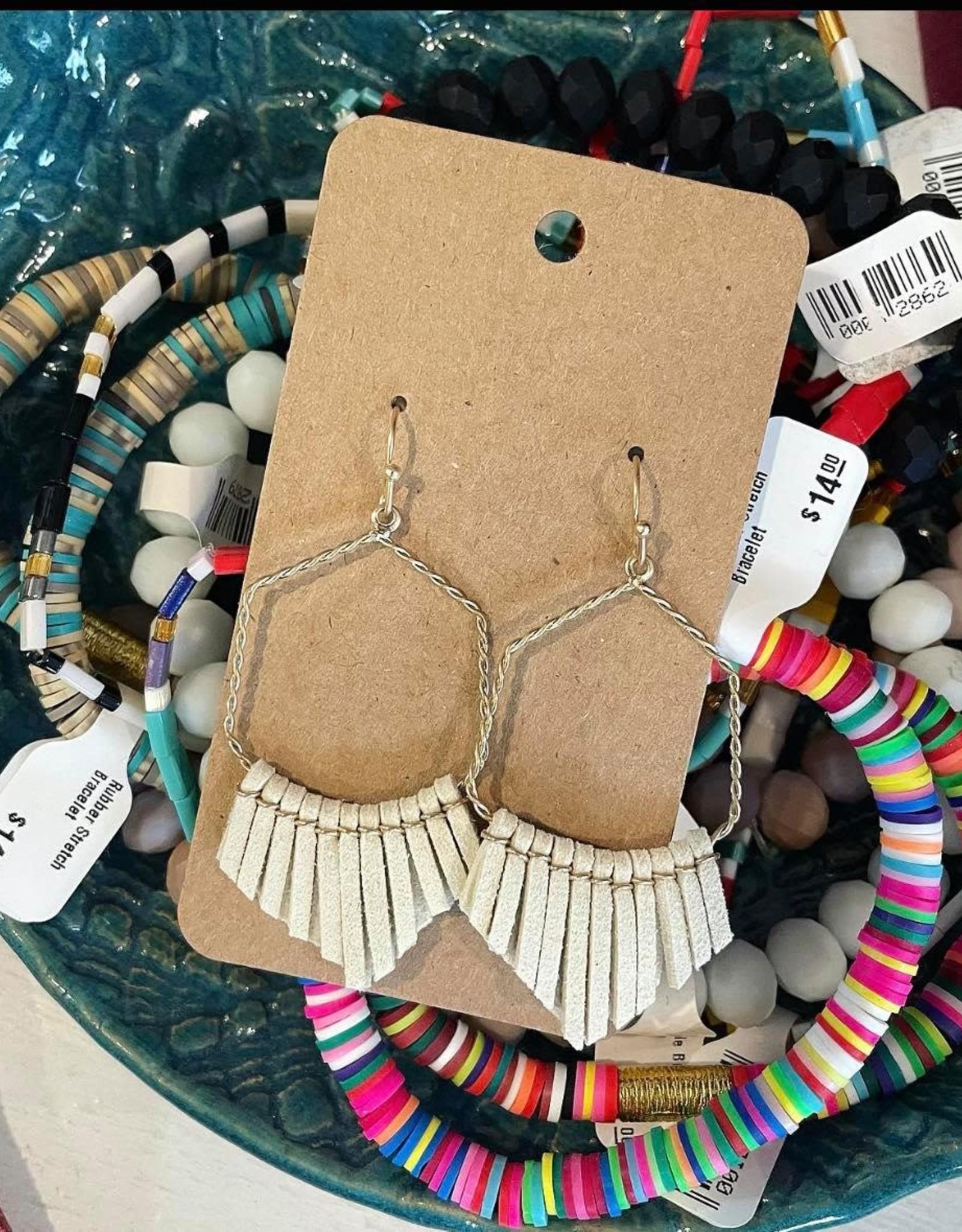 Hexagon Tassel Earring in Ivory