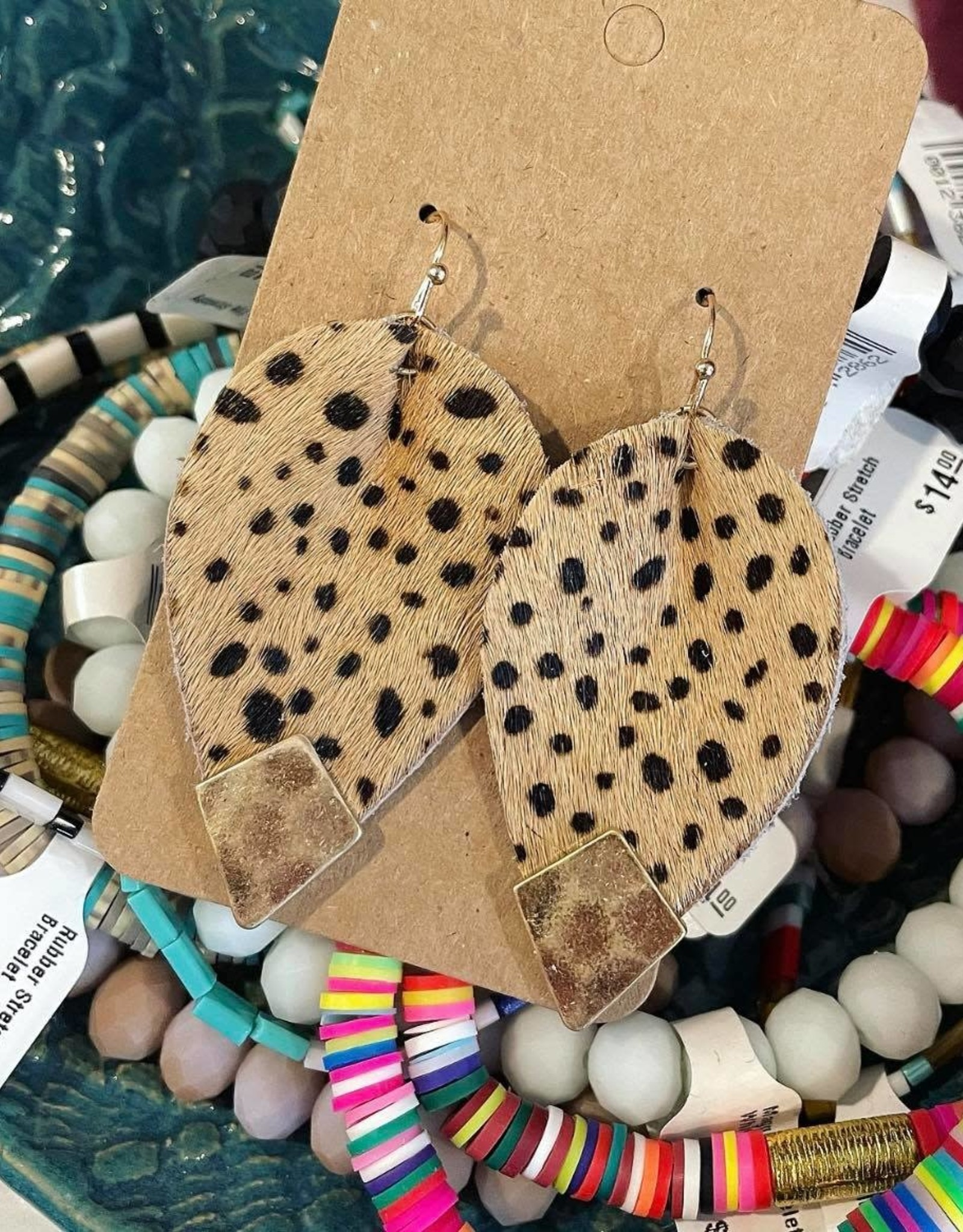 Animal Print Leather Teardrop Earring