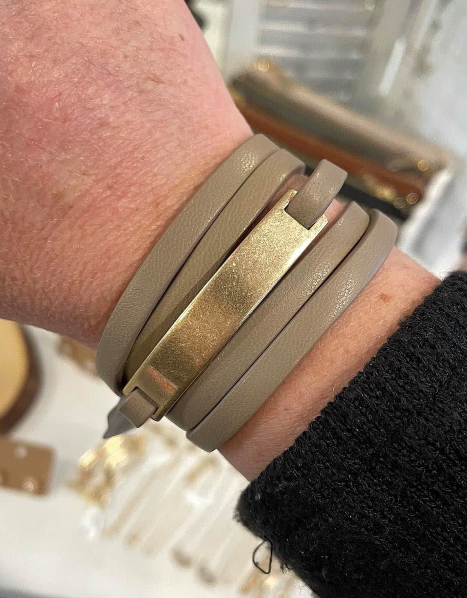 Leather Wrap Bracelet in Taupe