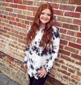 Olivia Tie Dye Top in Black