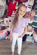 Hayden Lavender Pocket Top with Ruffle Sleeve