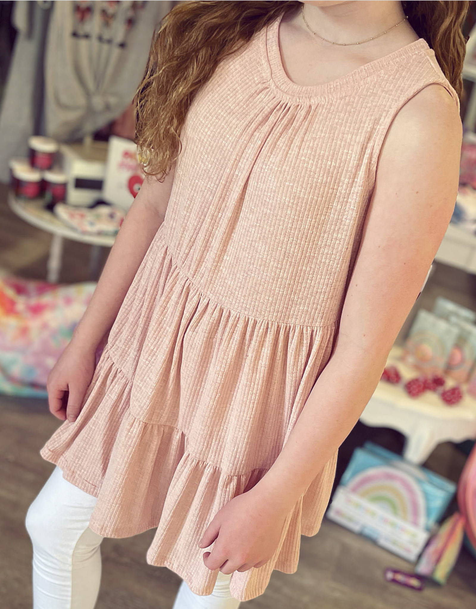 Hayden Whitney Knit Tiered Tunic in Blush