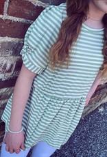 Hayden Alice Peplum Stripe Top in Sage
