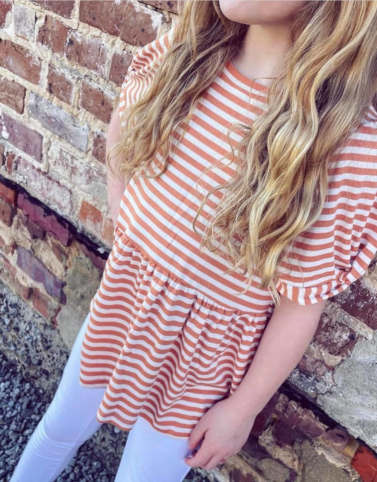 Hayden Alice Peplum Stripe Top in Coral