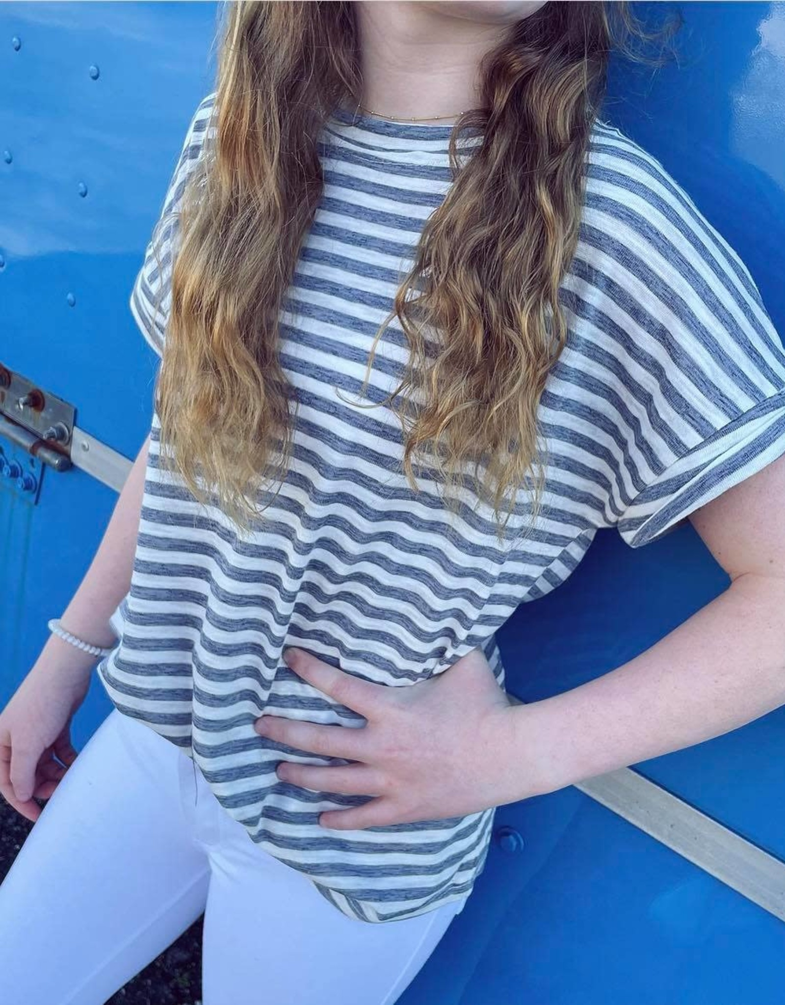 Hayden Molly Stripe Tee in Blue