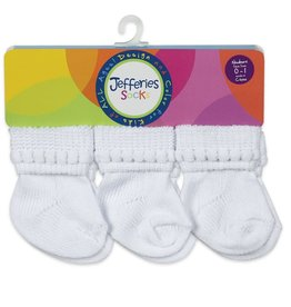 Jefferies Socks Rock-A-Bye Turn Cuff Socks 6 Pair Pack Size NB