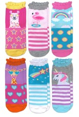 Jefferies Socks Unicorn Llama Giraffe Flamingo Pattern Crew Socks 6 Pair Pack