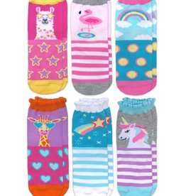 Jefferies Socks Unicorn Llama Giraffe Flamingo Pattern Crew Socks 6 Pair Pack