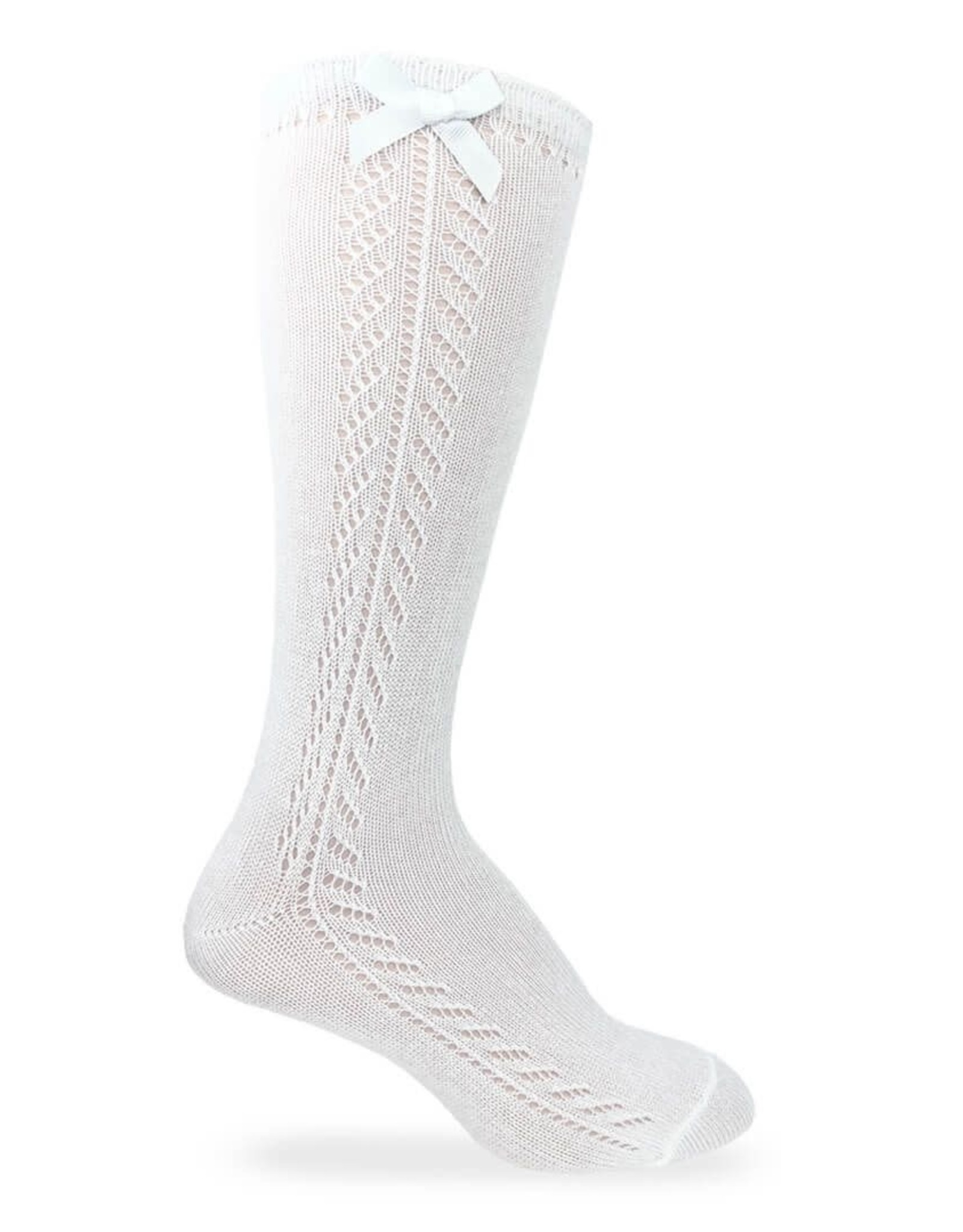 Jefferies Socks Pointelle Bow Knee High Socks in White
