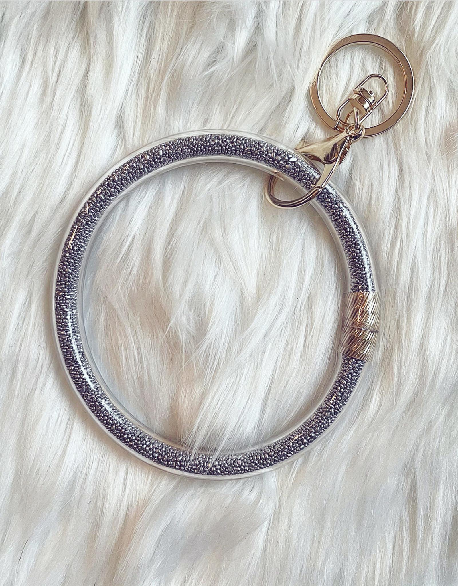 Seed Bead Key Ring Bracelet Silver