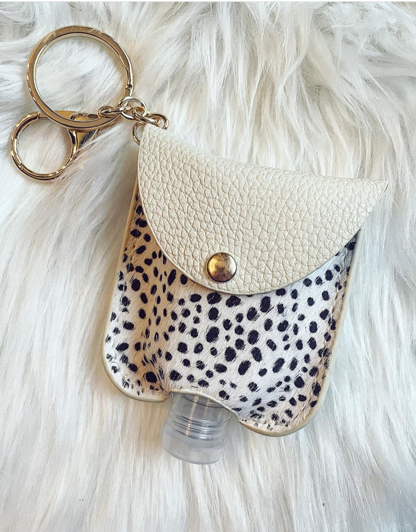 Ivory Cheetah Hand Sanitizer Key Chain