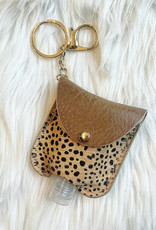 Brown Cheetah Hand Sanitizer Key Chain