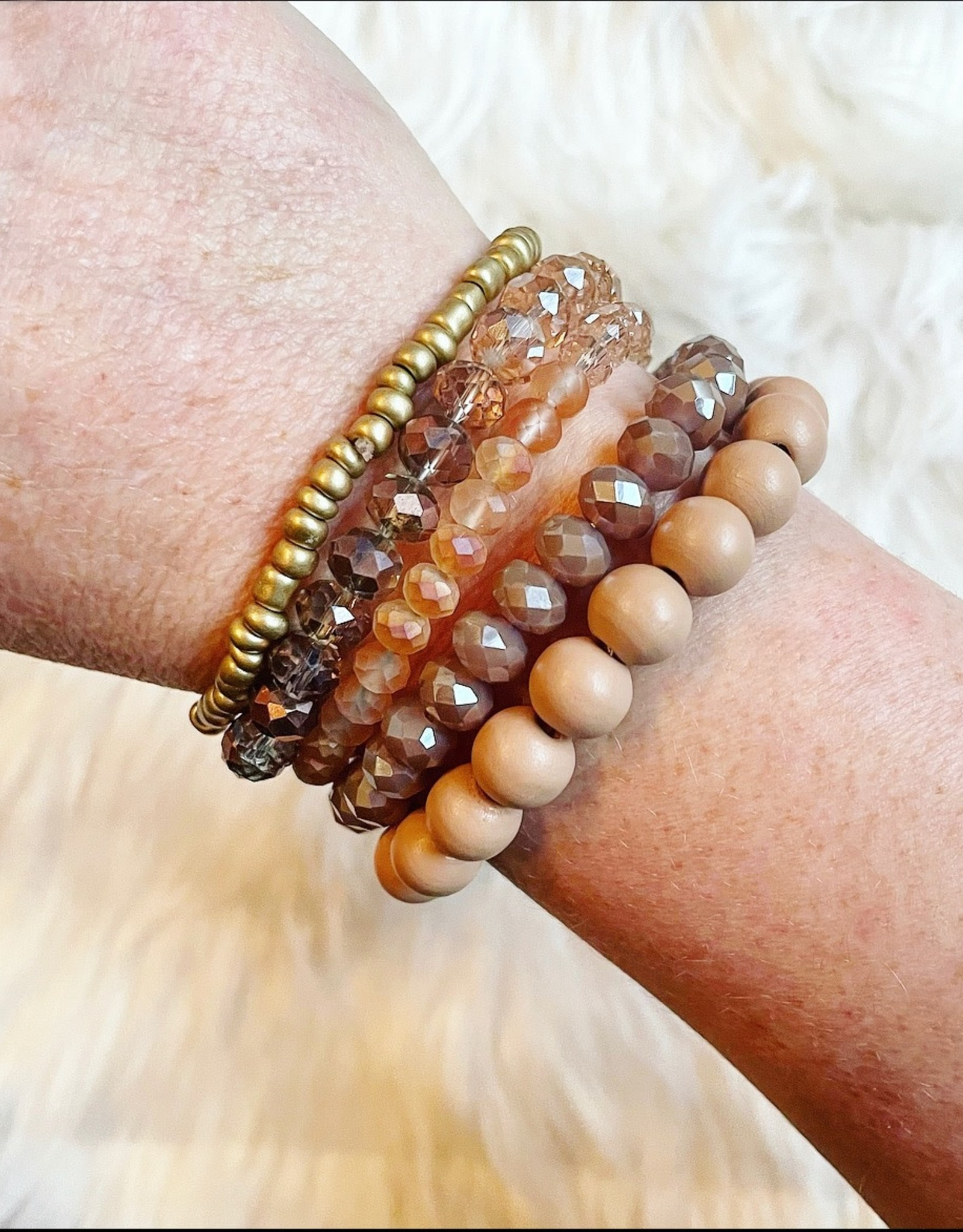 Taupe Wood Beads Bracelet Set