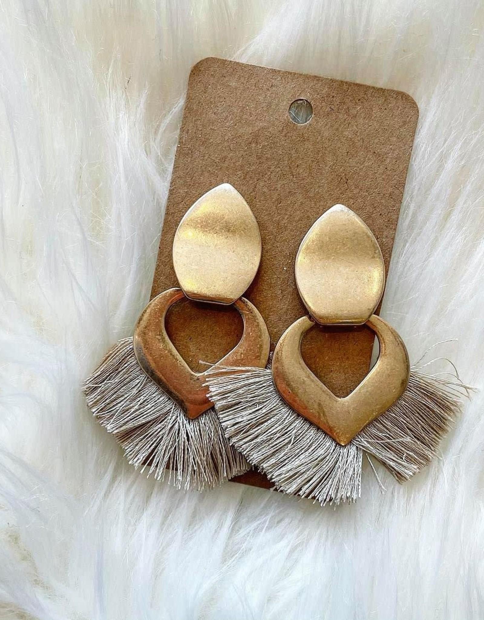 Petal Tassel Earring in Taupe