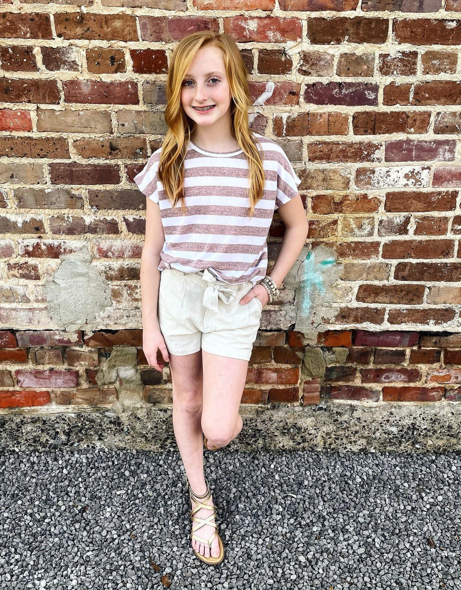 Hayden Peyton Stripe Shirt in Peach
