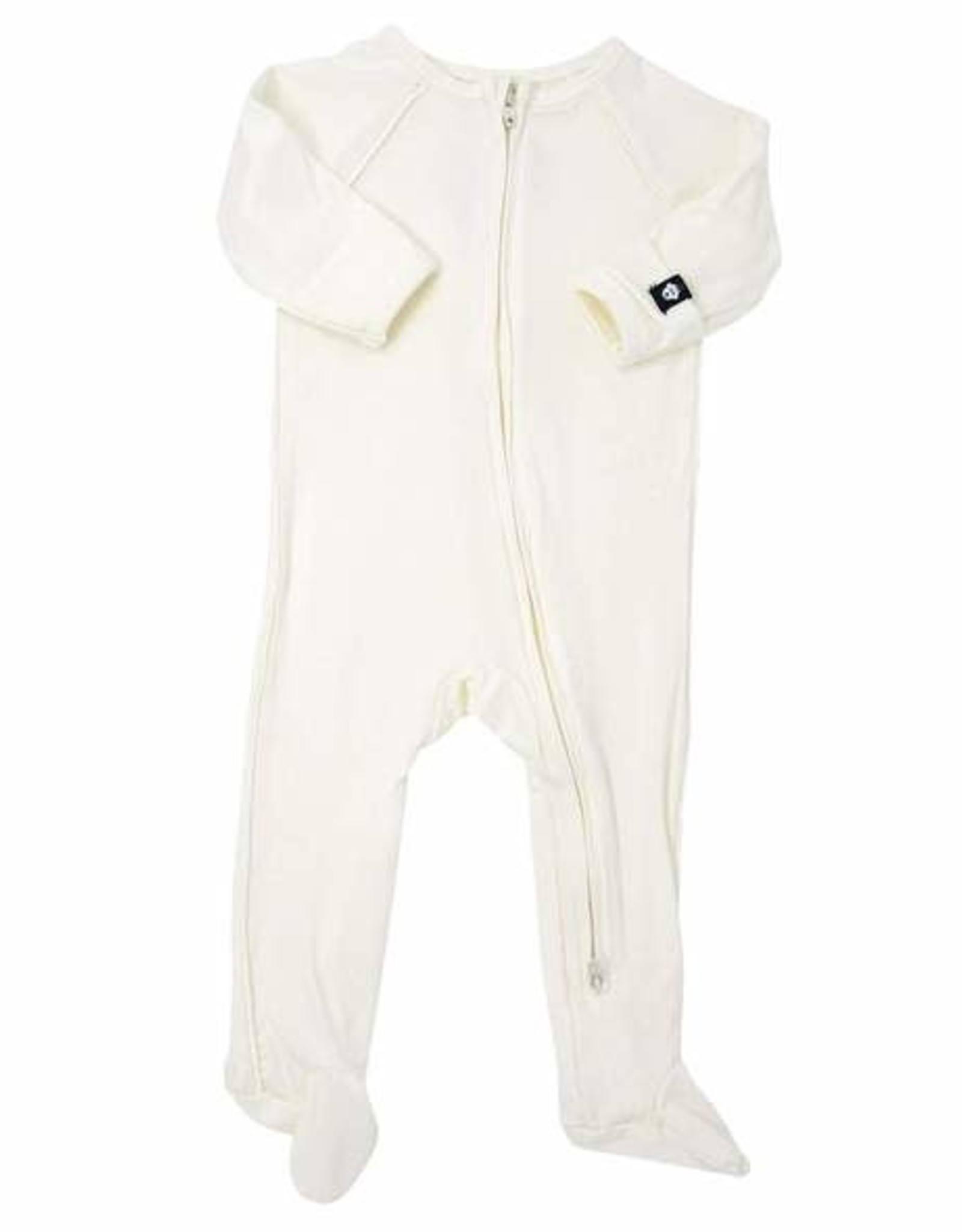 Sweet Bamboo Piped Zipper Footie - Whispery White