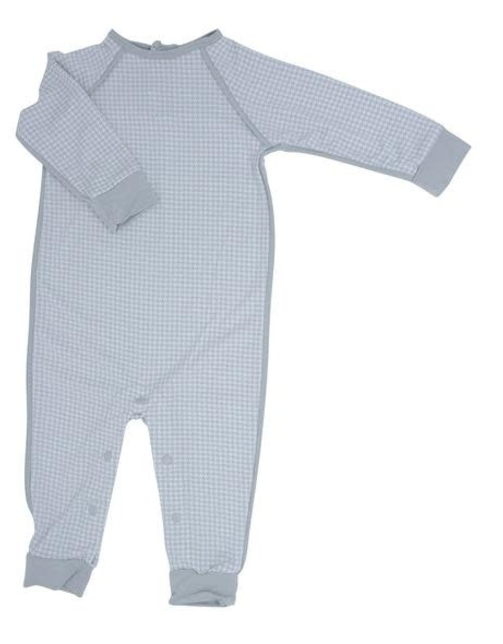 Sweet Bamboo Long Romper c/ Back Placket - Grey Houndstooth