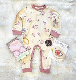Sweet Bamboo Long Romper w/ Front Placket - Roses Sand