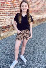 Hayden Denim Leopard Shorts