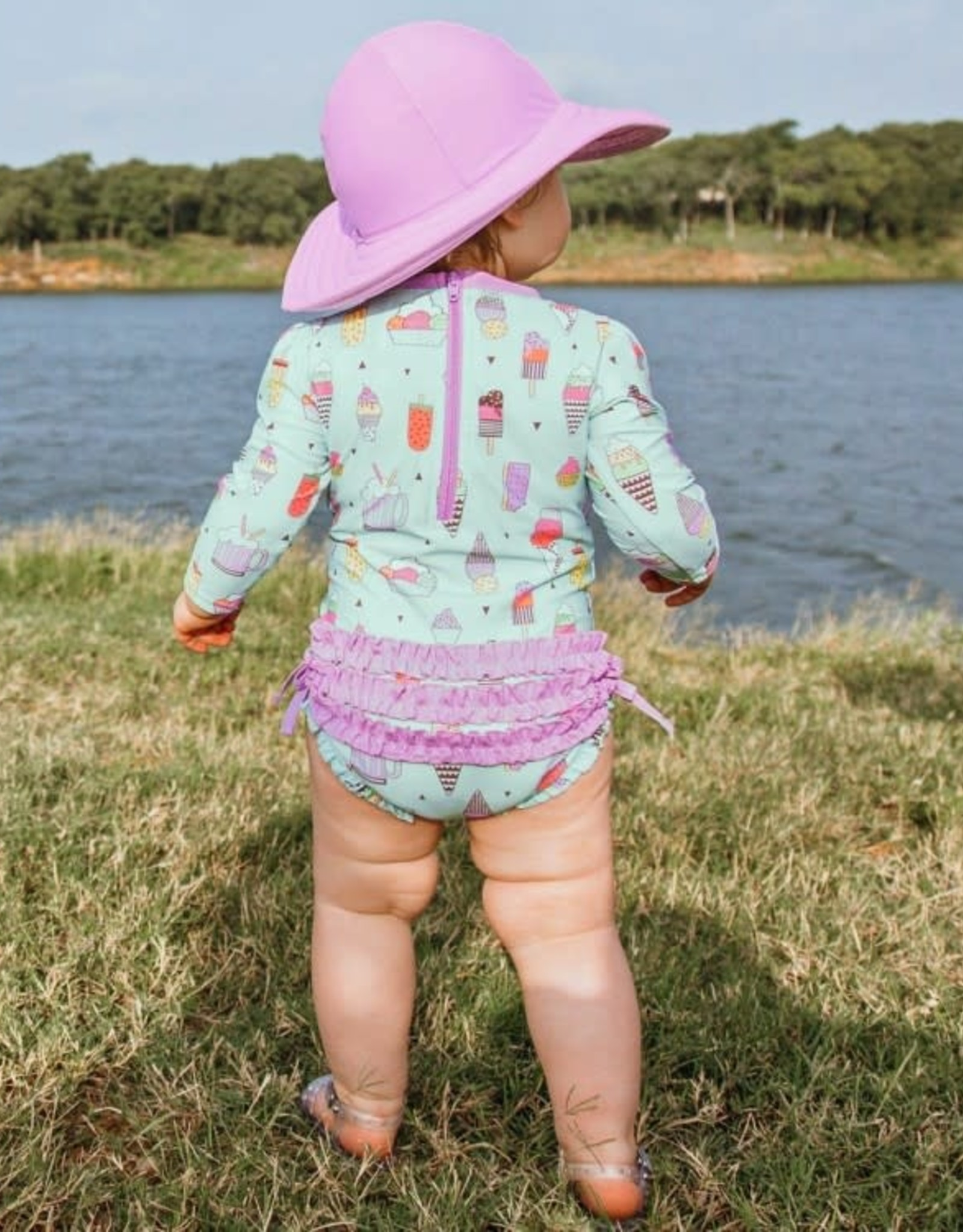 RuffleButts Anything is Popsicle One Piece Rash Guard