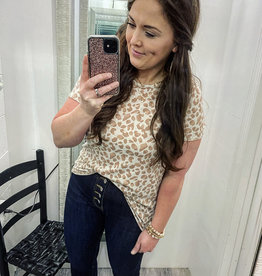 Judy Leopard Top in Taupe
