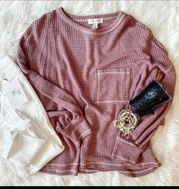 Sally Waffle Knit Pocket Top in Red Bean