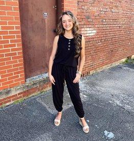 Brandy Wooden Button Jumpsuit in Black