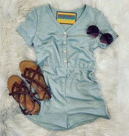 For All Seasons Ashley Button Knit Romper in Sage
