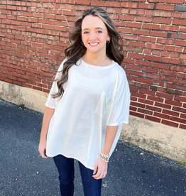 zenana Abby Oversized Pocket Top in Ivory