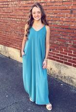 zenana Chasidy Maxi Dress in Dusty Teal