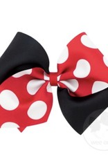 WeeOnes Wide King Two-Tone Dot Print Bow - Red