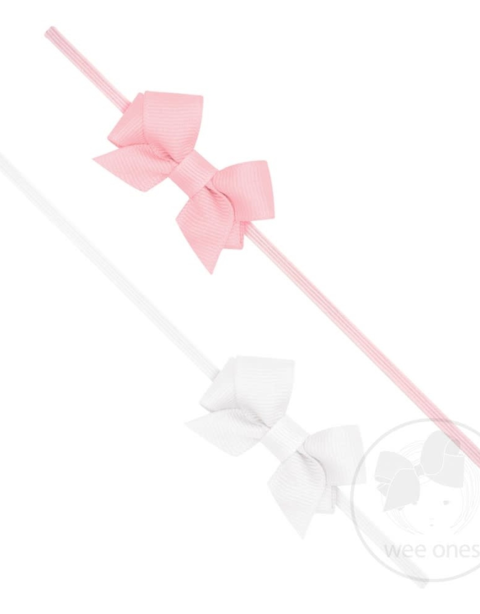 WeeOnes Two Pack of Tiny Front Tail Grosgrain Bows on Matching Baby Bands