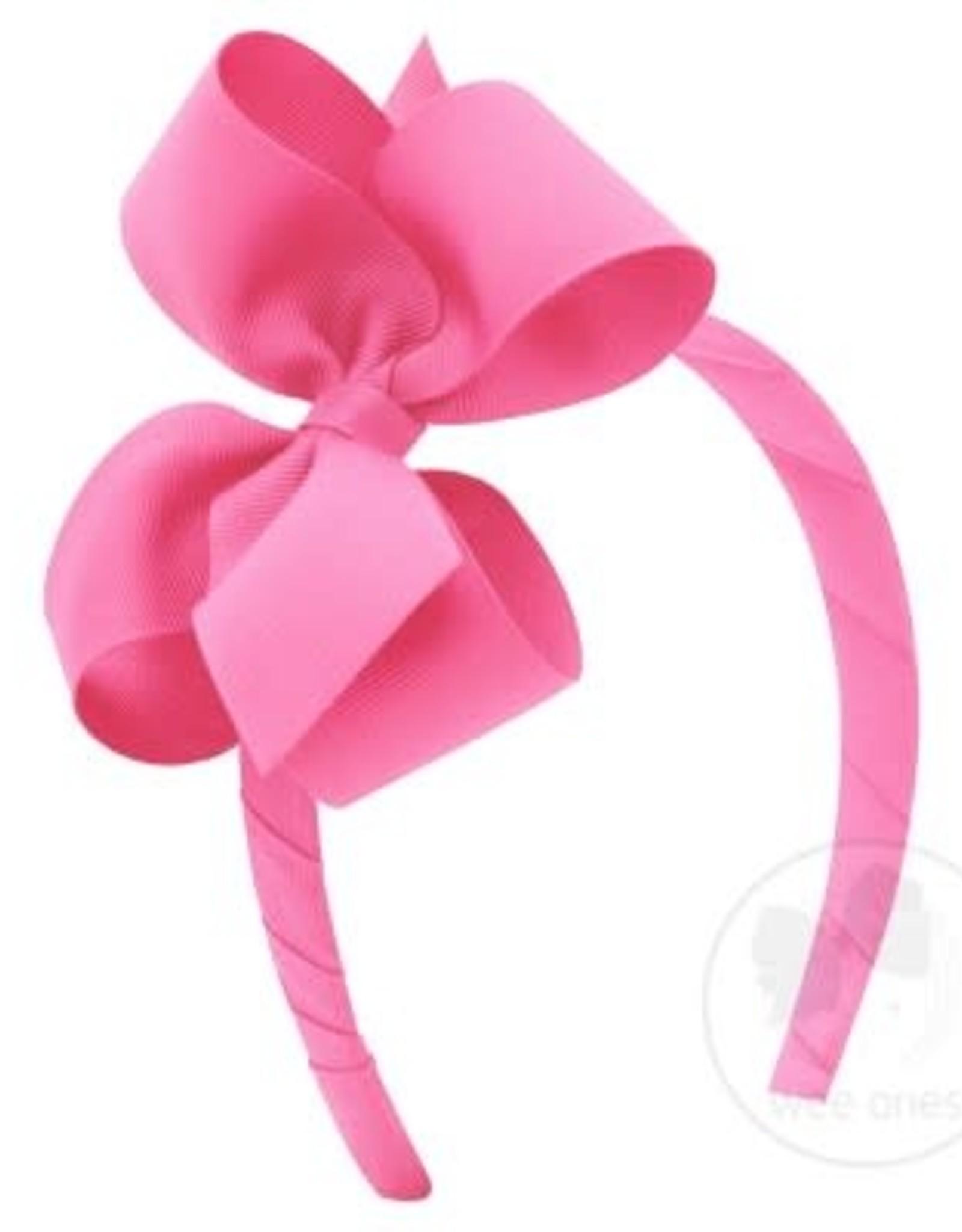 WeeOnes Grosgrain Add-a-Bow Headband Hot Pink