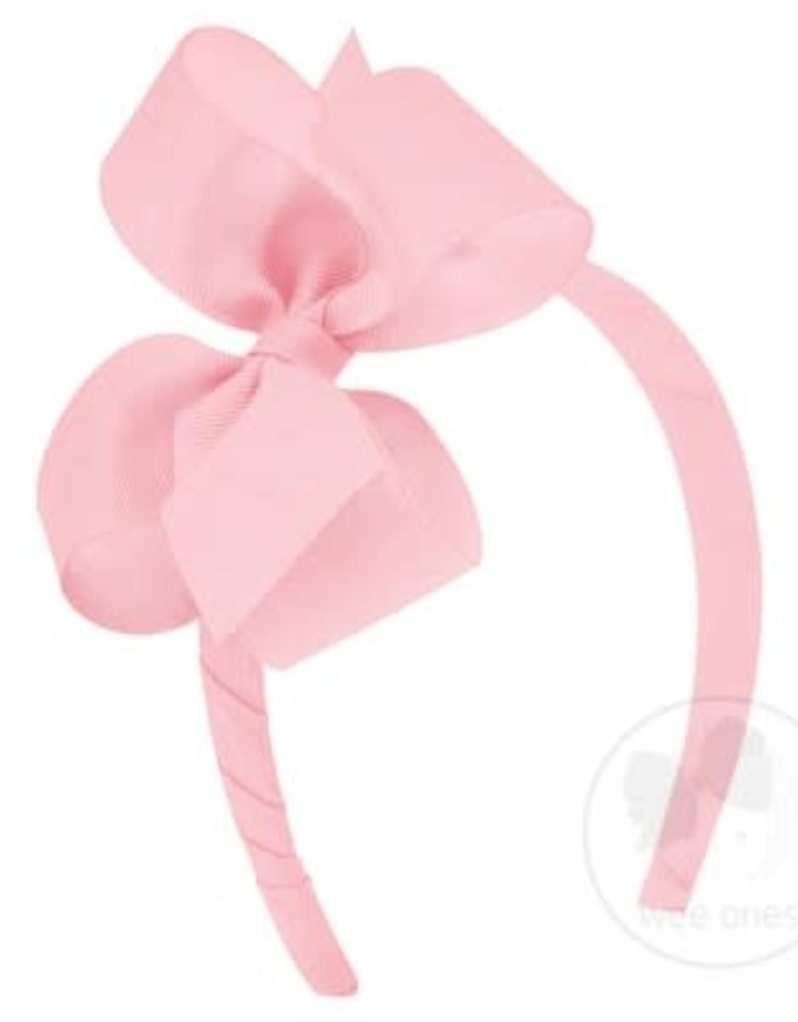 WeeOnes Grosgrain Add-a-Bow Headband Light Pink