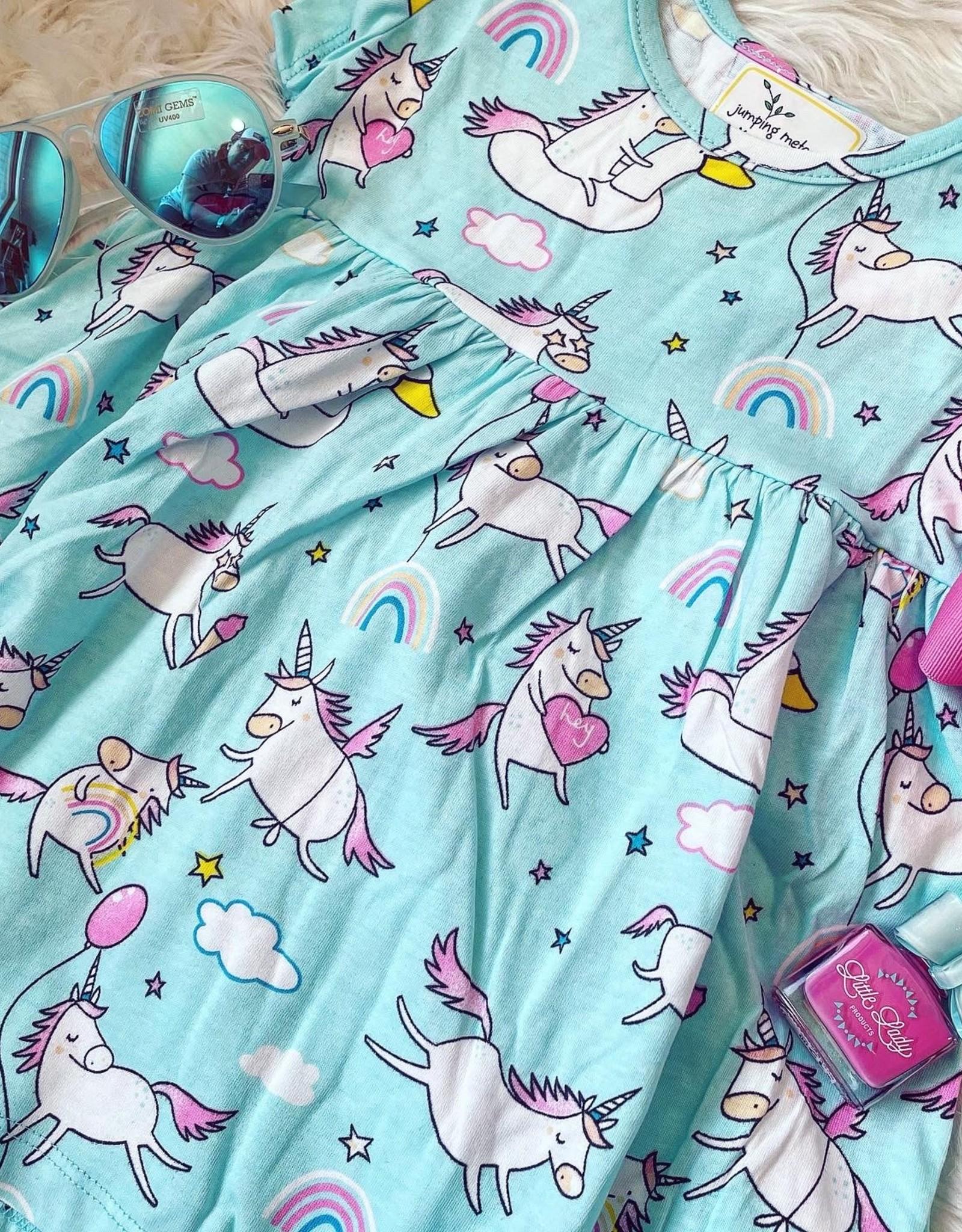 Bailey Unicorn Dress in Aqua