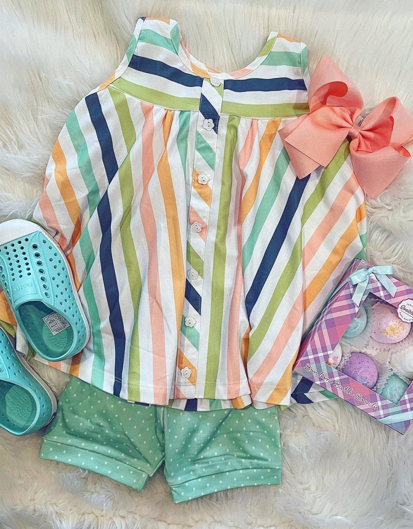Be Girl Clothing Trapeze Tunic- Whimsy Stripes and Mint Shorties