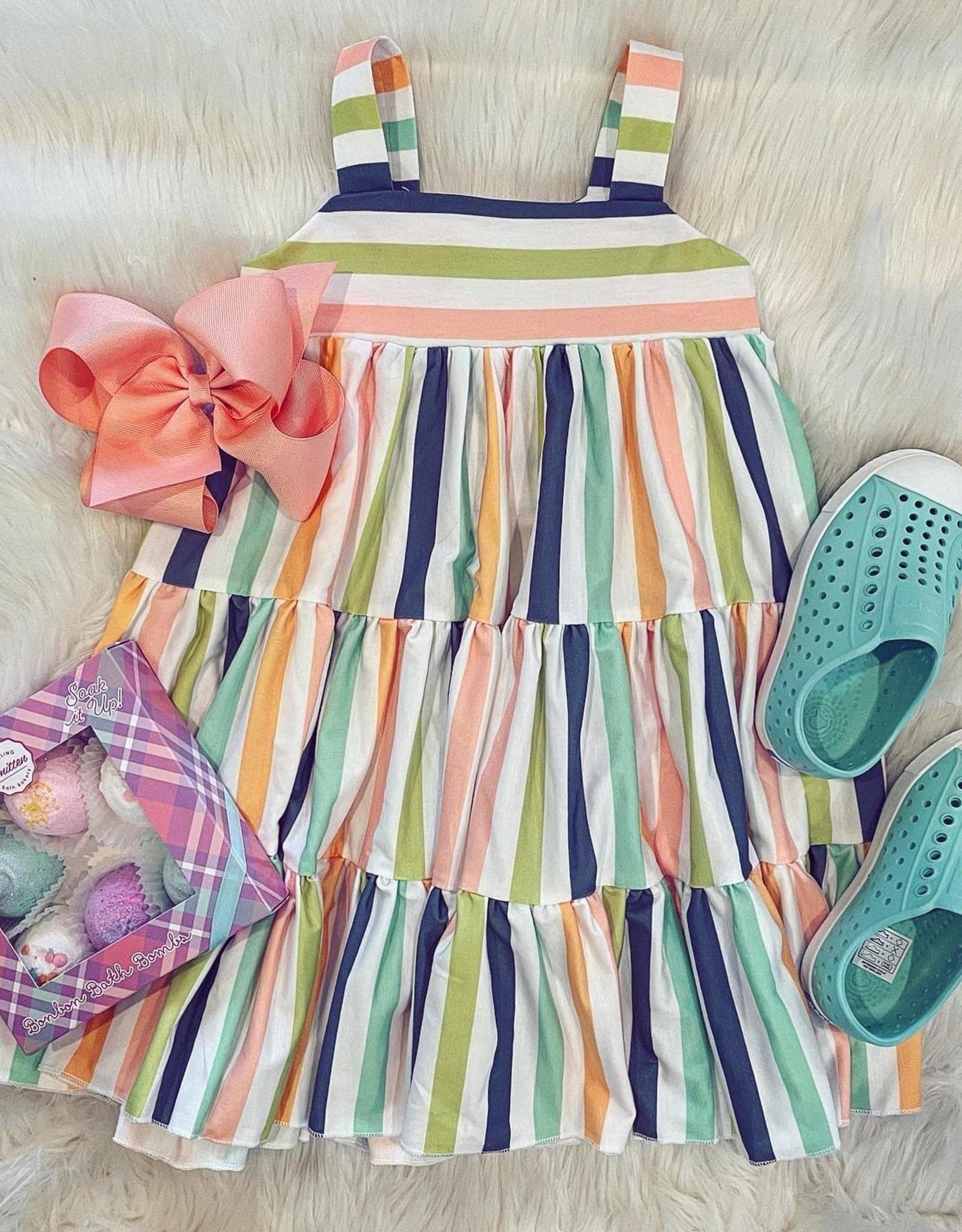 Be Girl Clothing Garden Twirler Dress In Whimsy Stripes