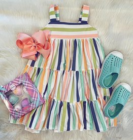 Be Girl Clothing Garden Twirler Dress In Whimsy Stripes