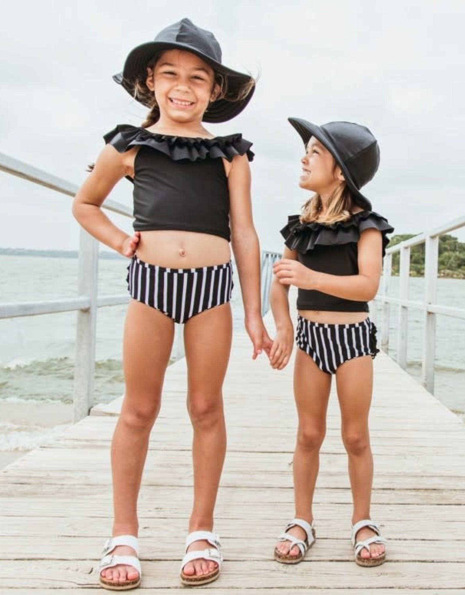 RuffleButts Black & White Stripe Ruffled Tankini