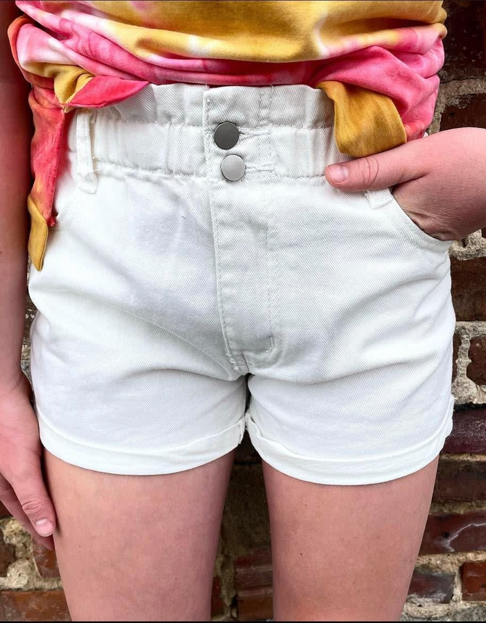 Hayden High Waist White Denim Short