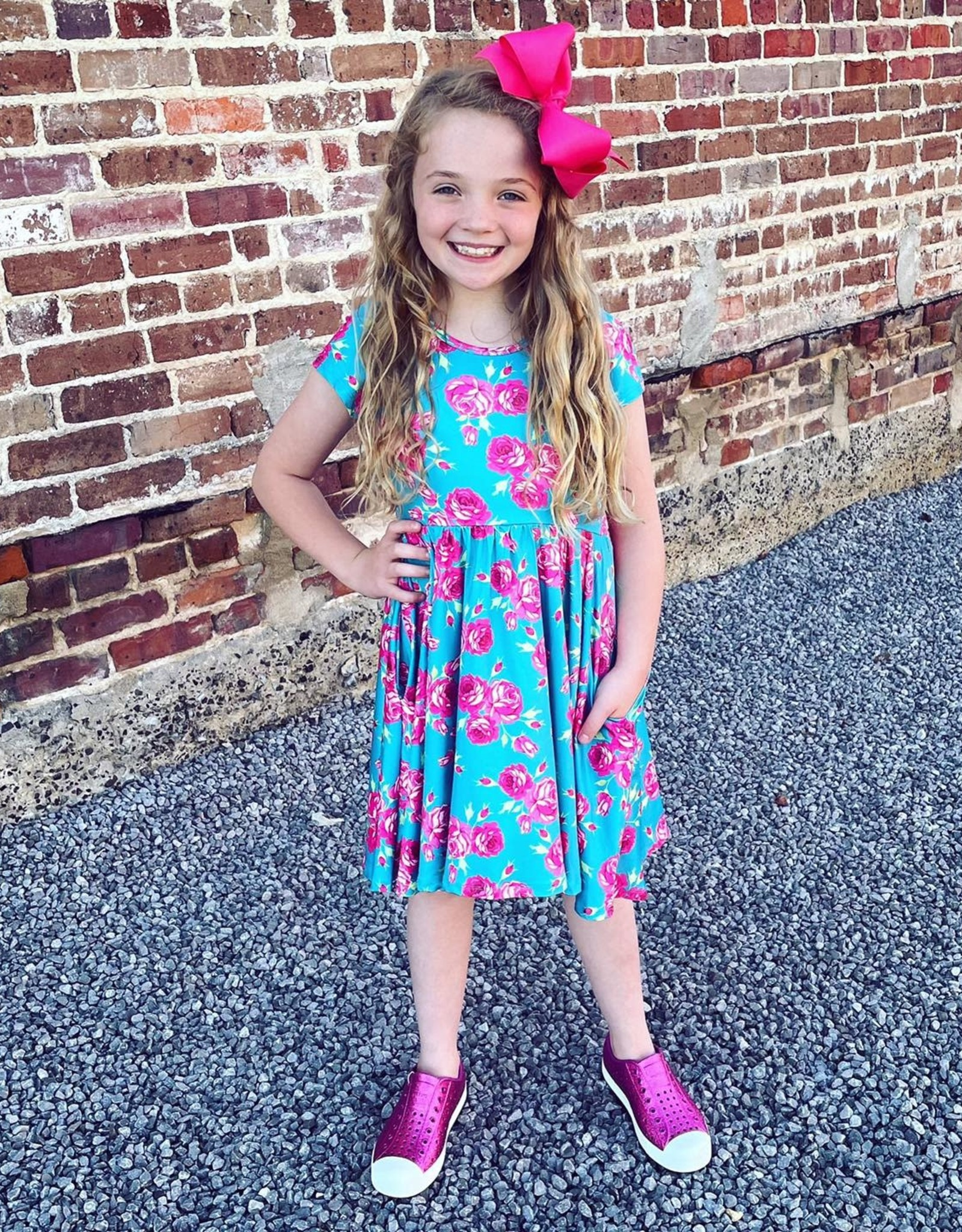 Charlies Project Teal Rose - Hugs Twirl Dress