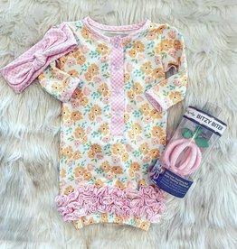 Be Girl Clothing Sweet Dreams Gown Set- Sherbert Petals